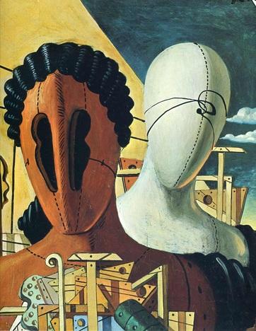 Giorgio de Chirico (1888 - 1978). The two masks 1926. Oil on canvas.